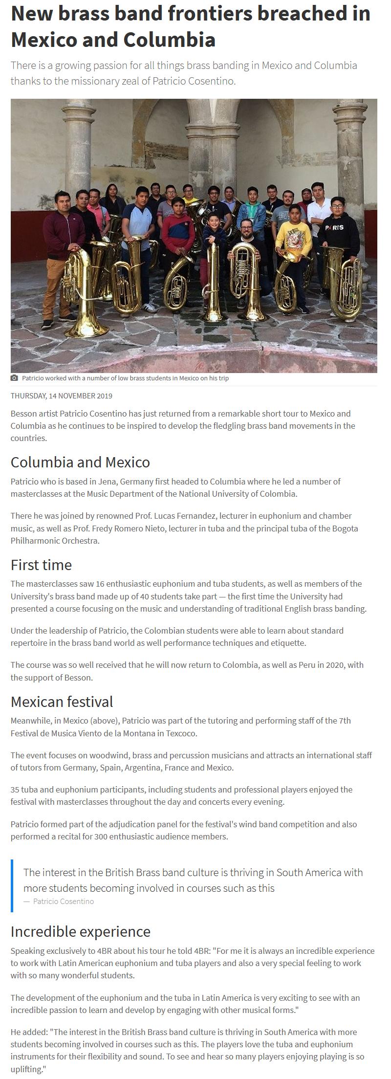 Artikel 4barsrest über die Konzertreise von Patricio Cosentino nach Mexiko und Kolumbien