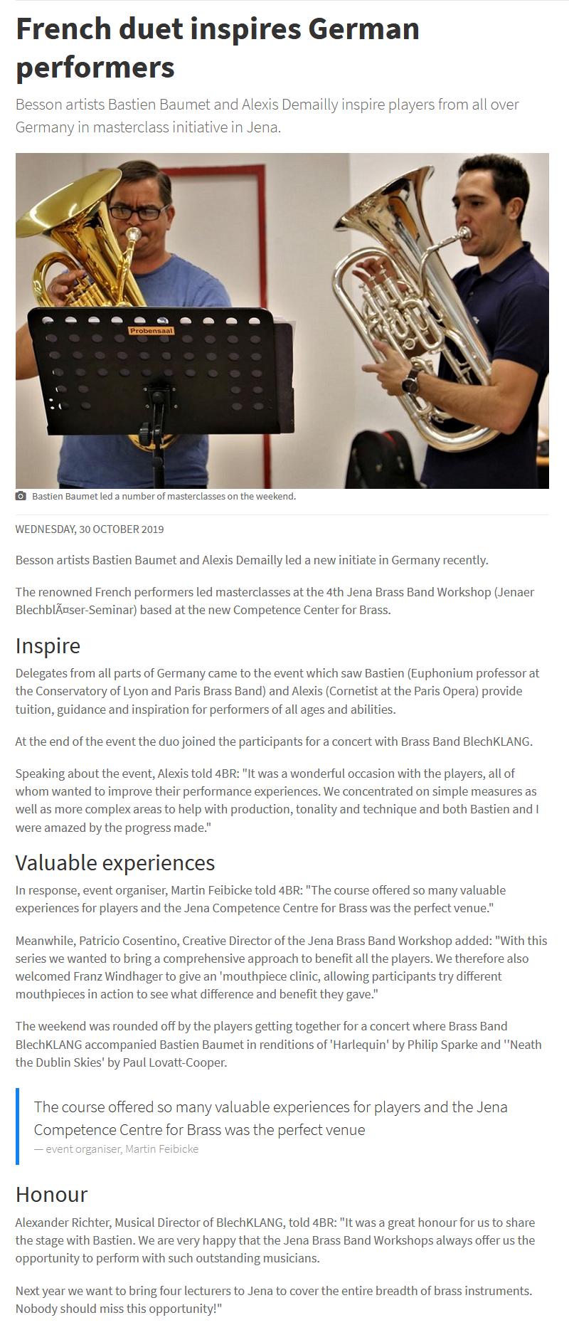 Artikel 4barsrest Jenaer Blechbläser-Seminar 2019 Bastien Baumet Alexis Demailly