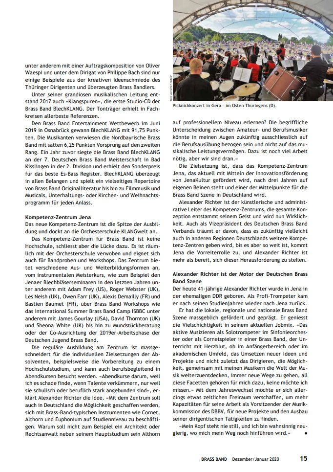 """Artikel im Fachmagazin """"Brass Band"""" Alexander Richter"""
