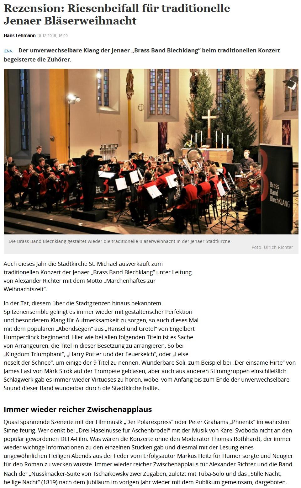 Artikel TLZ Rezension Großes Weihnachtskonzert Brass Band BlechKLANG