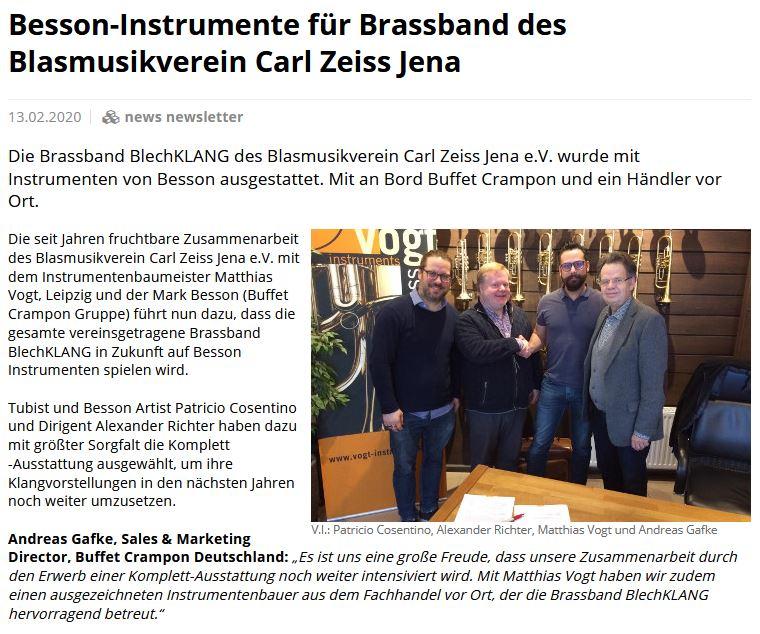 Artikel Das Musikinstrument über Besson Buffet Crampon Brass Band BlechKLANG