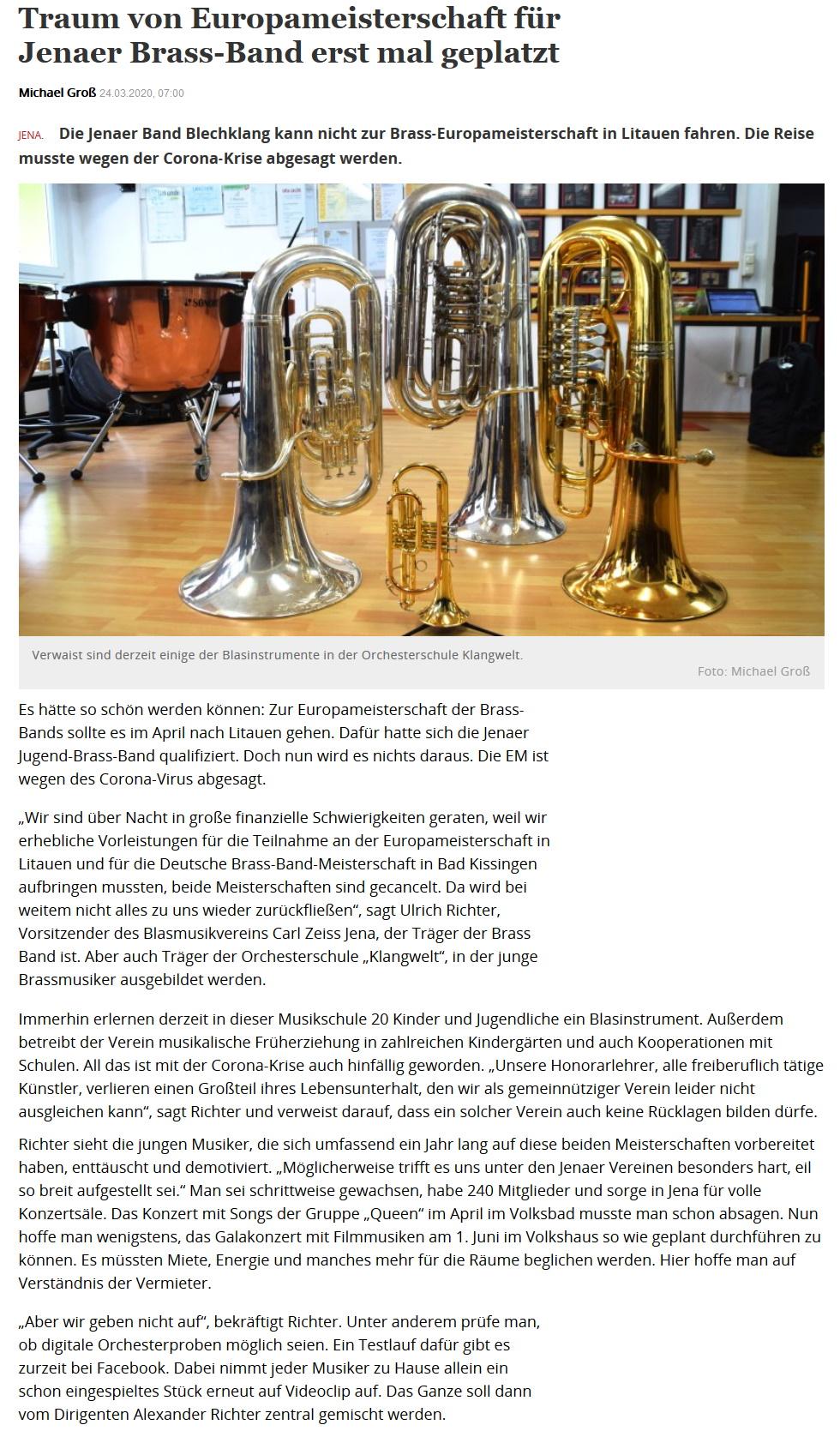 Artikel OTZ Absage Brass Band Europameisterschaft