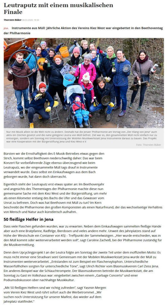 Artikel OTZ Mobile Musikwerkstatt Klang von Jena Beethoven