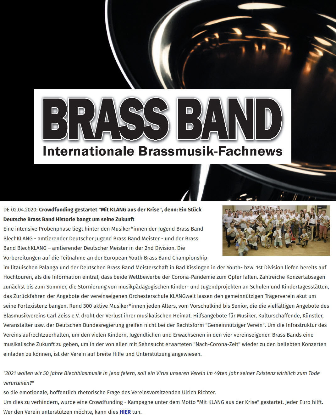 Artikel Brass Band Crowdfunding Corona Blasmusikverein Carl Zeiss Jena