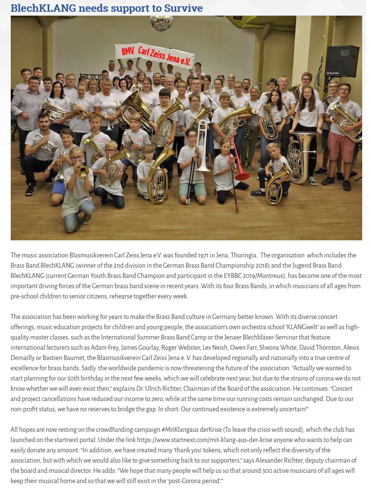 Artikel Brass Band World Crowdfunding Blasmusikverein Carl Zeiss Jena