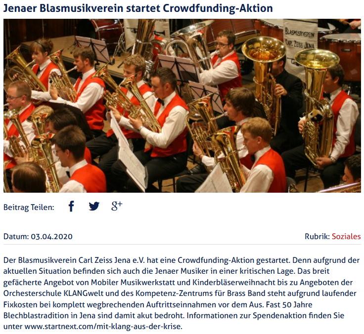 Artikel Jena TV Crowdfunding Blasmusikverein Carl Zeiss Jena eV