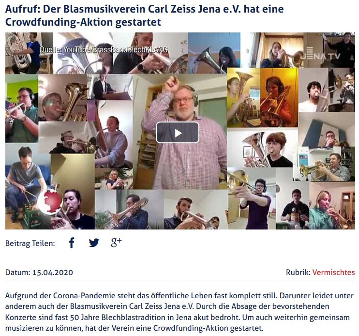Beitrag Jena TV Crowdfunding Blasmusikverein Carl Zeiss Jena