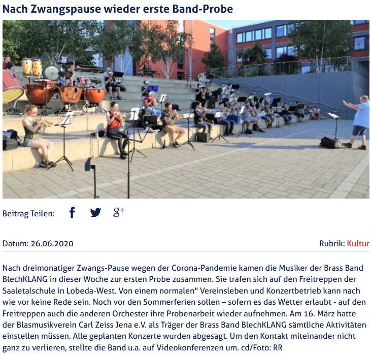 Online-Artikel JenaTV über Probe Brass Band BlechKLANG