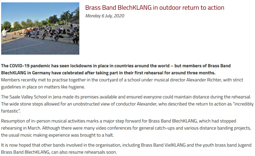 Artikel British Bandsman Erste Probe seit Corona Zwangspause Brass Band BlechKLANG