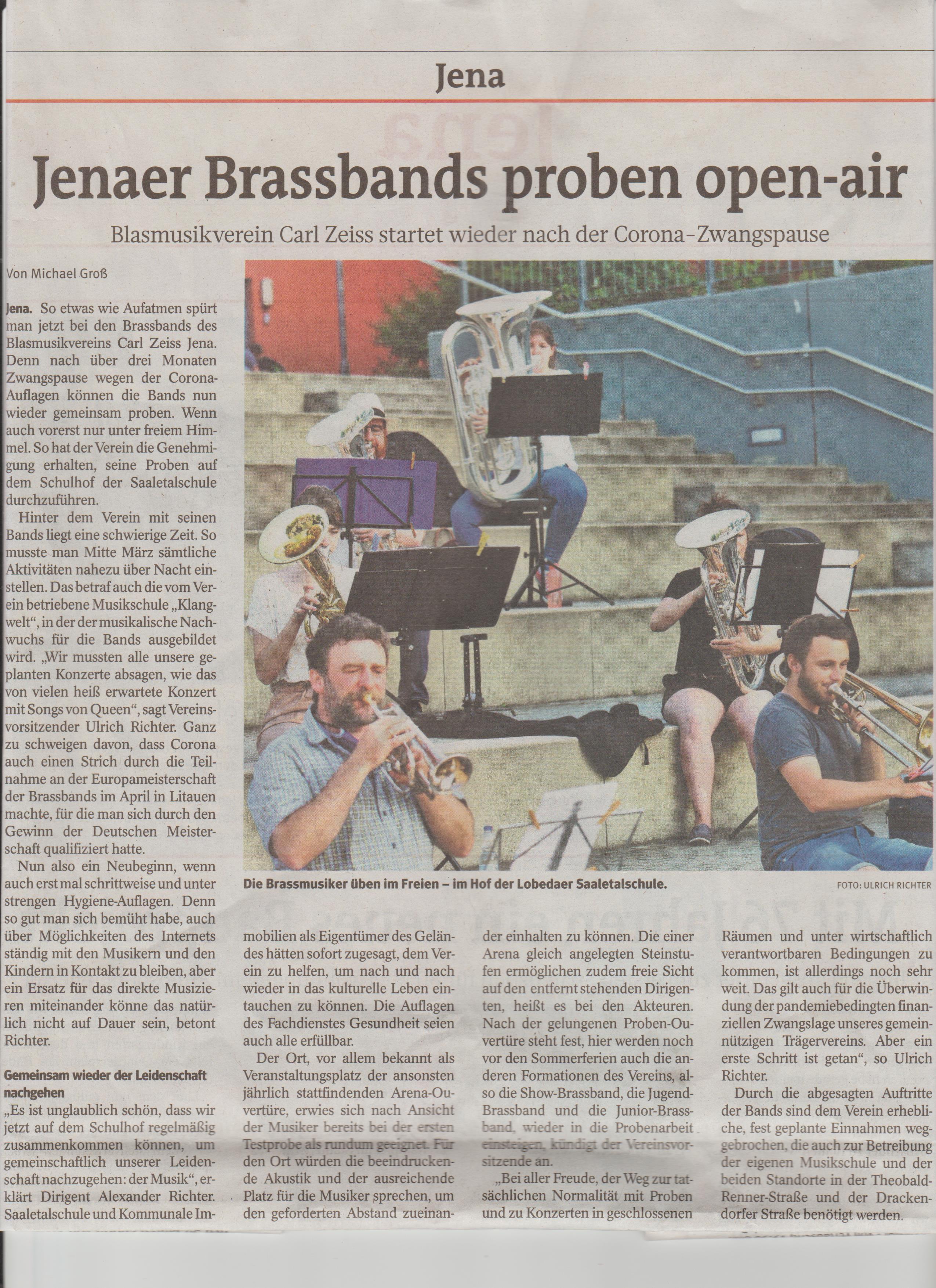 Artikel OTZ Probe nach Corona Blasmusikverein Carl Zeiss Jena