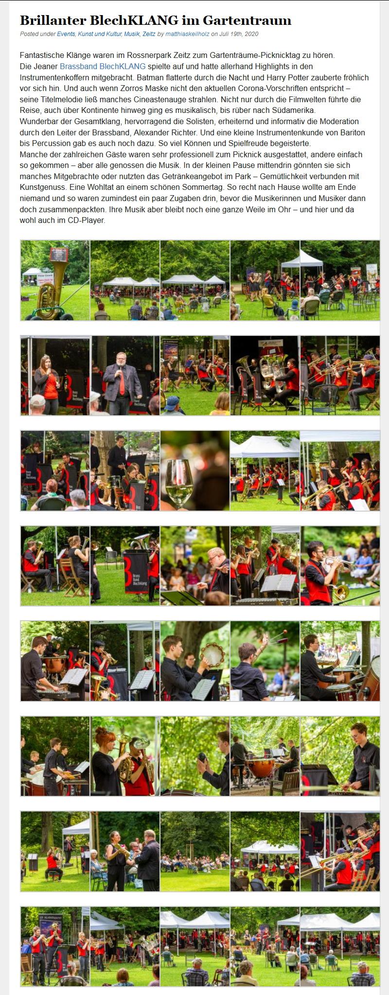 Online Artikel Picknickkonzert Zeitz Gartenträume Brass Band BlechKLANG