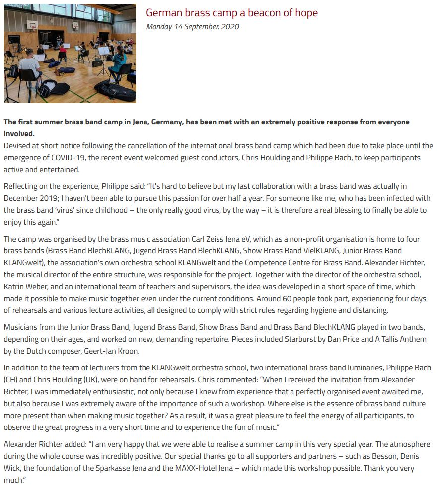 Artikel British Bandsman Sommer Brass Band Camp 2020