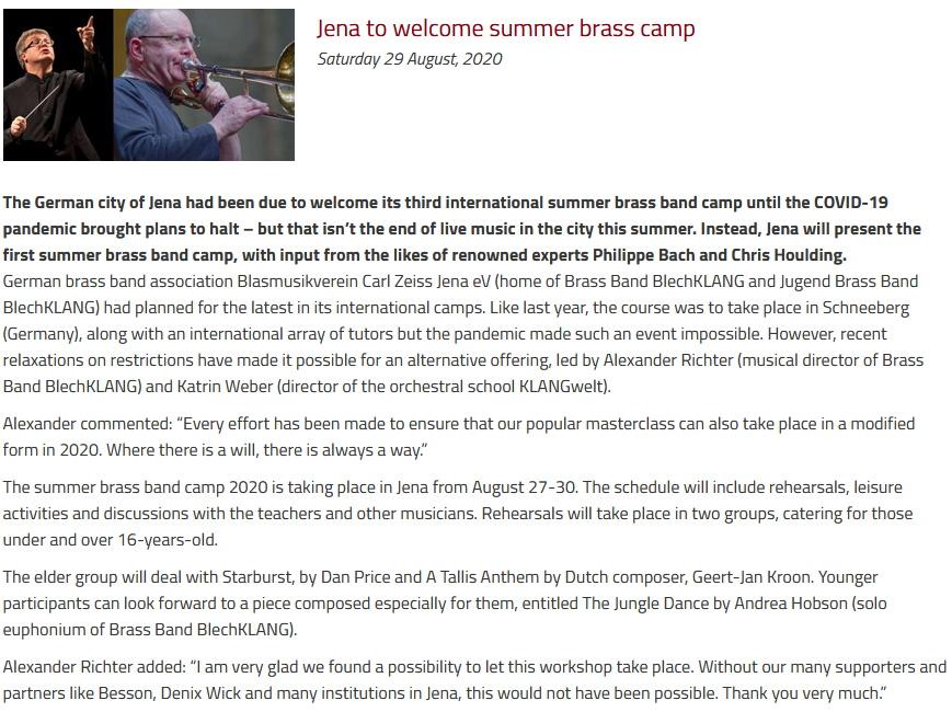 Artikel British Bandsman Summer Brass Band Camp