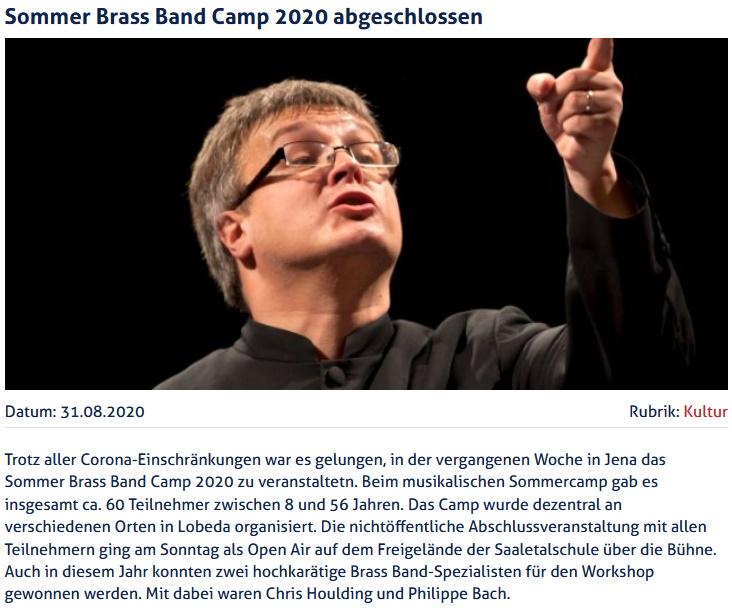 Artikel JenaTV Sommer Brass Band Camp