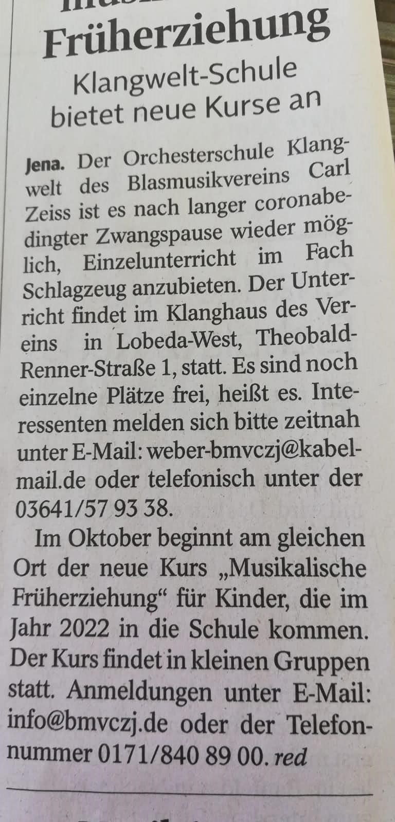Artikel OTZ Beginn neues Schuljahr Orchesterschule KLANGwelt