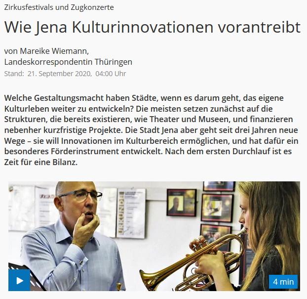 Beitrag MDR Kultur Innovationsförderung Kompetenzzentrum für Brass Band Jena