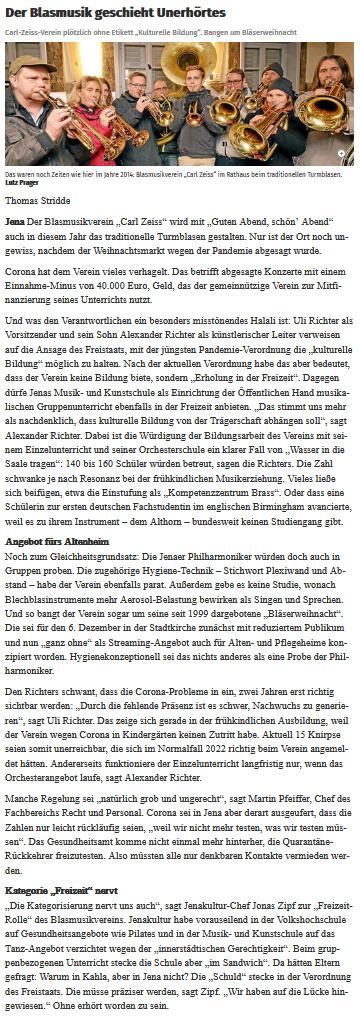 Artikel TLZ Probleme Corona-Maßnahmen Blasmusikverein Carl Zeiss Jena