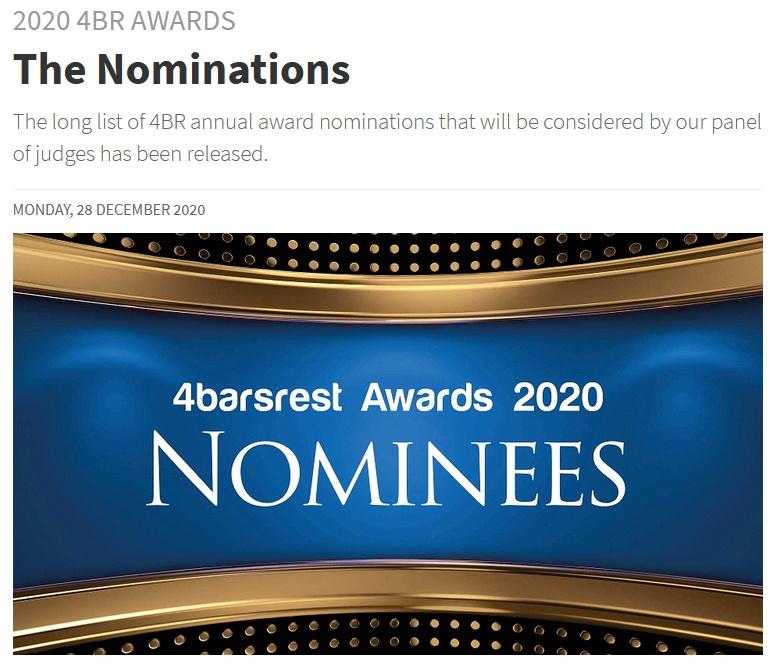 Artikel 4barsrest Nominierung für den 4barsrest Award 2020