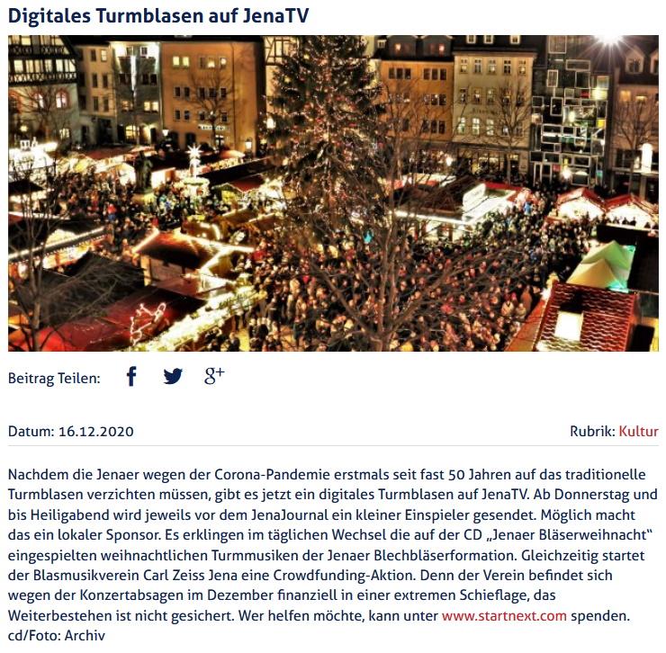 Beitrag JenaTV über das Crowdfunding und die Ersatzübertragung des Jenaer Turmblasens