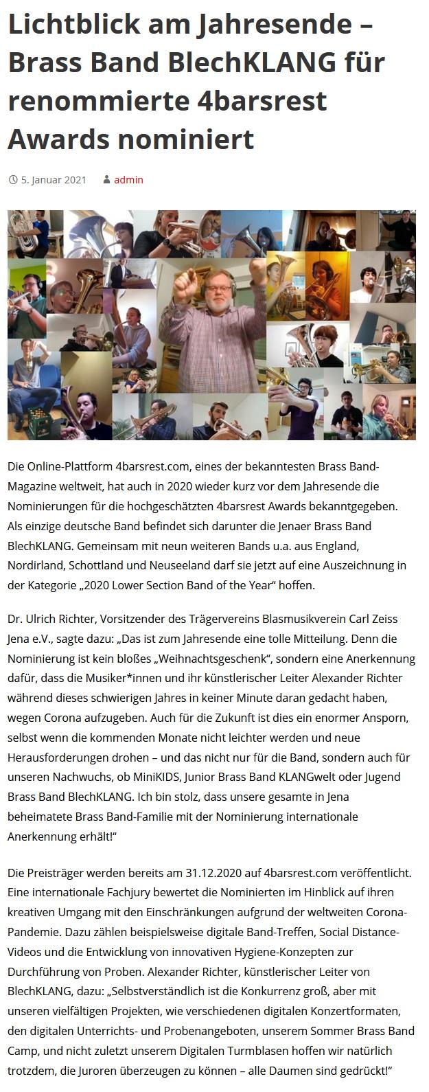 Beitrag Demokratischer Jugendring Jena Nominierung für den 4barsrest Award 2020