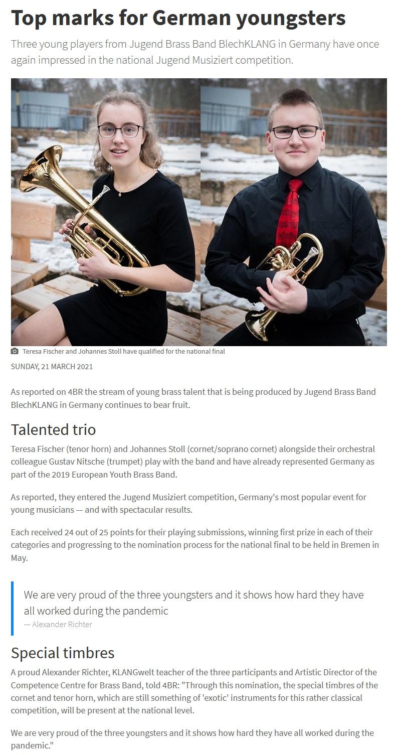Artikel 4barsrest Jugend musiziert 2021 Weiterleitung Bundeswettbewerb