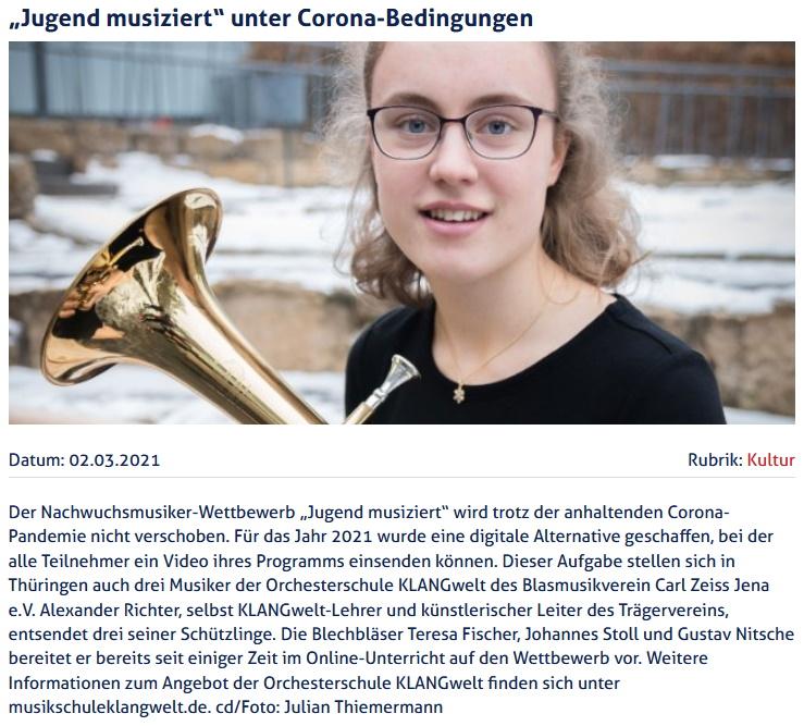 Artikel JenaTV Jugend musiziert 2021