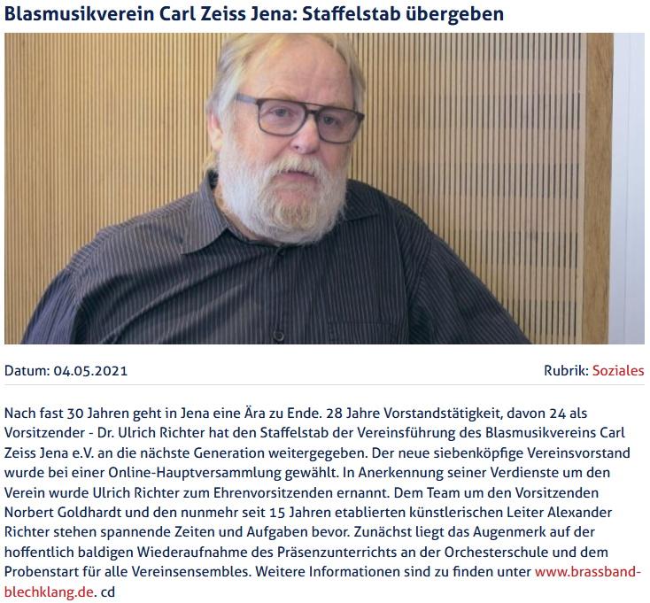Artikel JenaTV Vorstandswechsel Ulrich Richter Blasmusikverein Carl Zeiss Jena