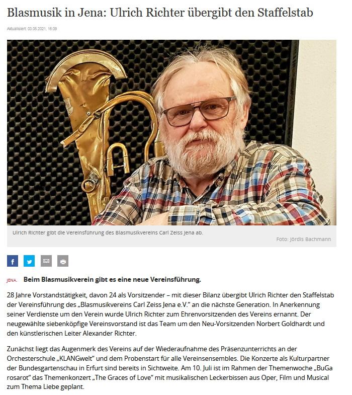 Artikel OTZ Ulrich Richter Vorstandswechsel Blasmusikverein Carl Zeiss Jena