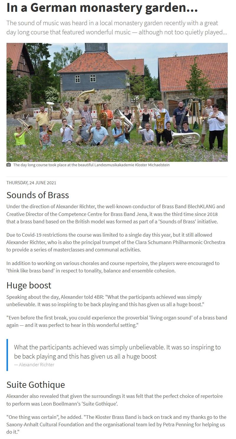Artikel 4barsrest Brass Band Kurs in Michaelstein mit Alexander Richter