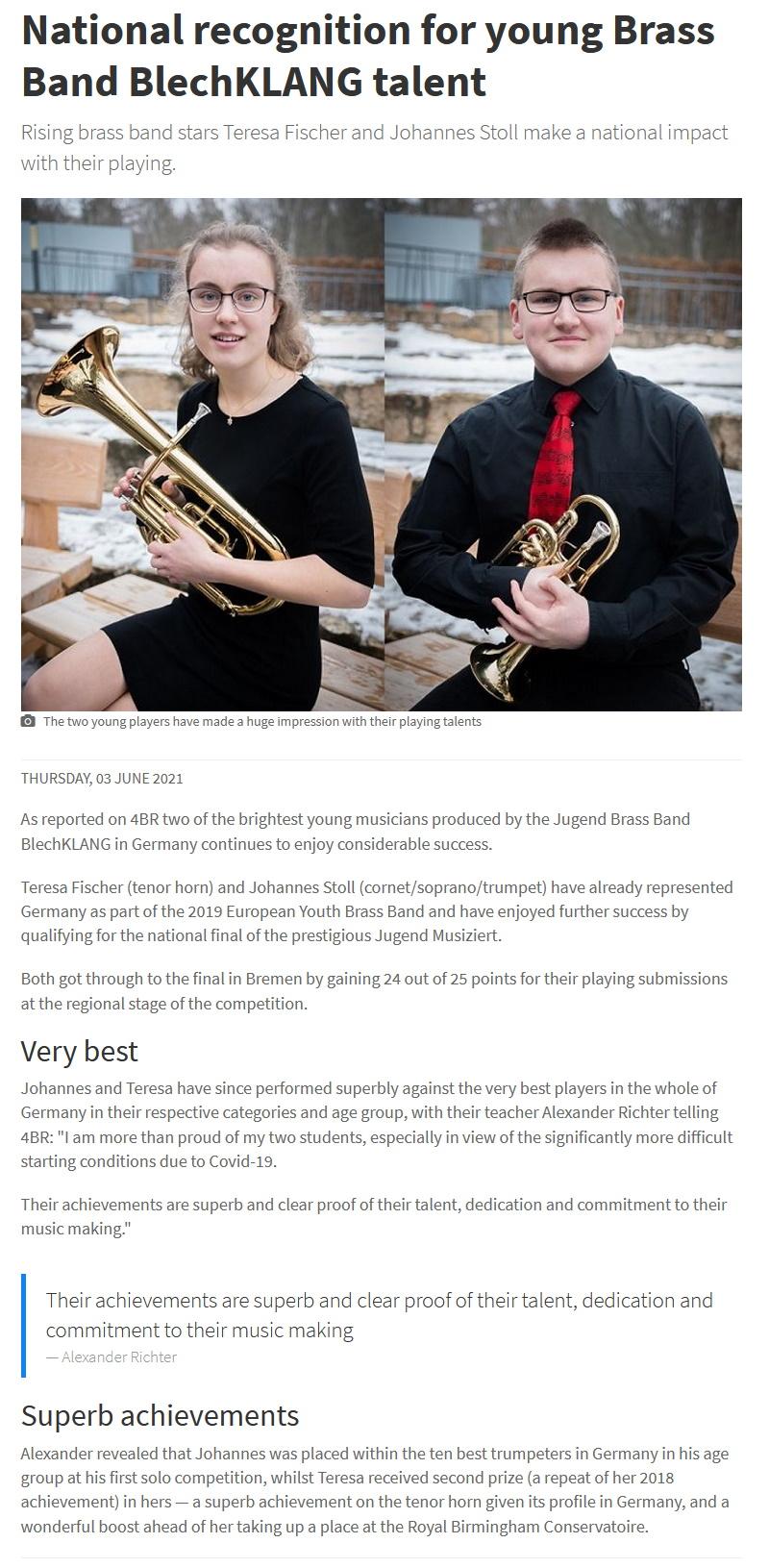 Artikel 4barsrest Jugend musiziert 2021 Bundeswettbewerb