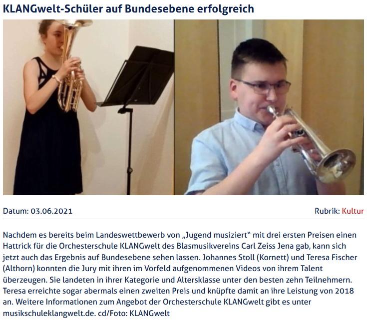 Artikel JenaTV Bundeswettbewerb Jugend musiziert 2021