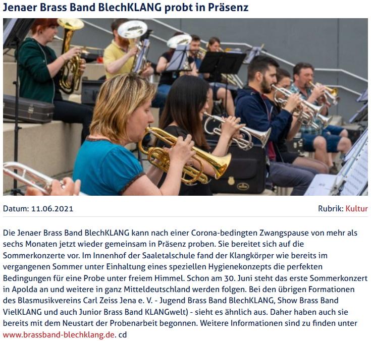 Artikel JenaTV Präsenzproben Brass Band BlechKLANG