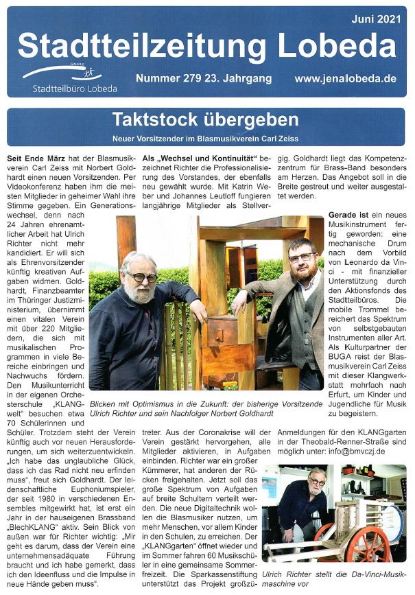 Artikel Stadtteilzeitung Lobeda Vorstandswechsel Blasmusikverein Carl Zeiss Jena