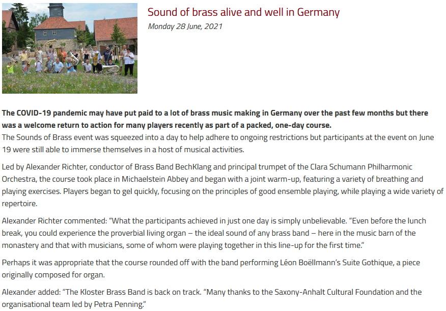 Artikel British Bandsman Kurs Michaelstein Alexander Richter