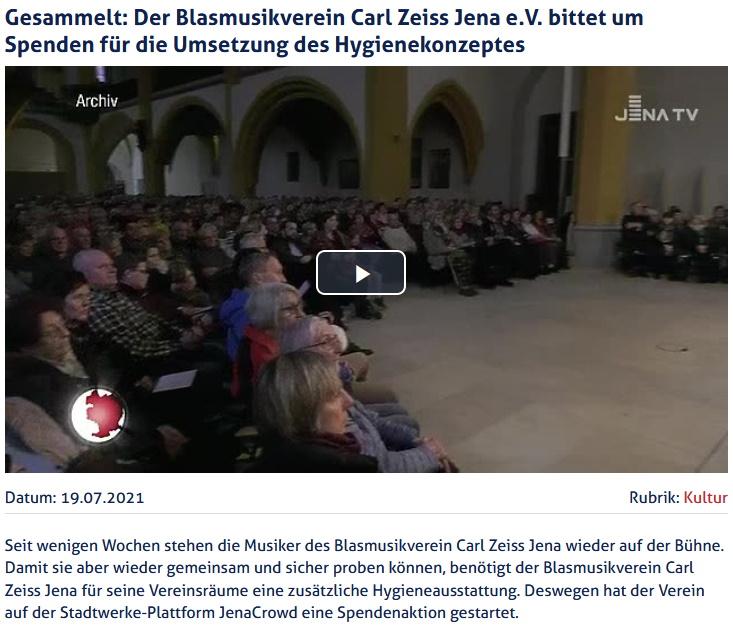 Beitrag JenaTV Crowdfunding Blasmusikverein Carl Zeiss Jena Hygienekonzept