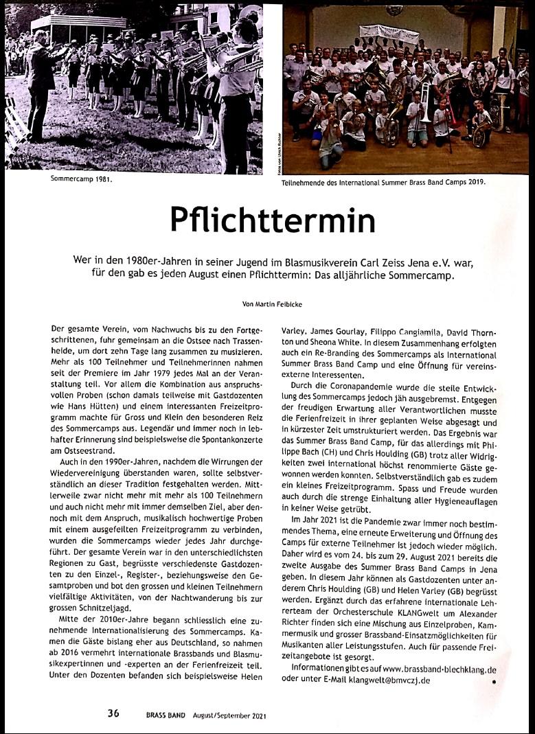 Artikel Brass Band Sommerlagergeschichte Brass Band BlechKLANG