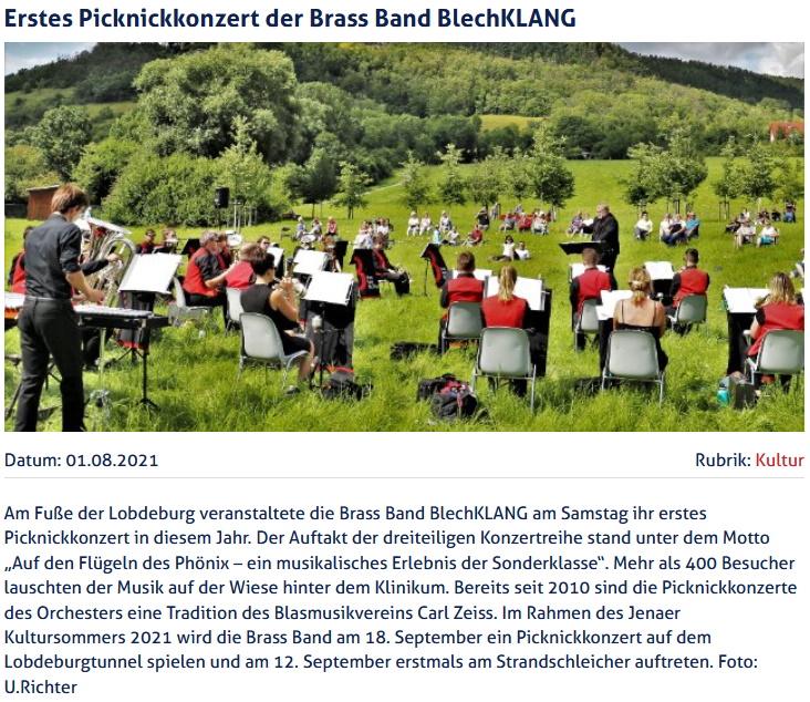 Artikel JenaTV Picknickkonzert Brass Band BlechKLANG 2021