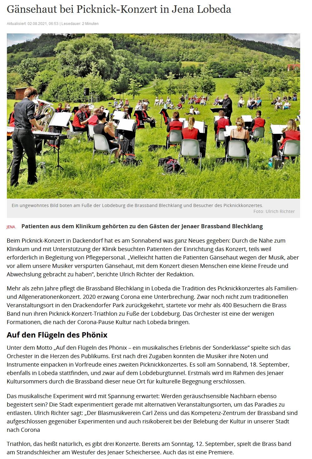 Artikel OTZ Picknickkonzert 2021 Brass Band BlechKLANG