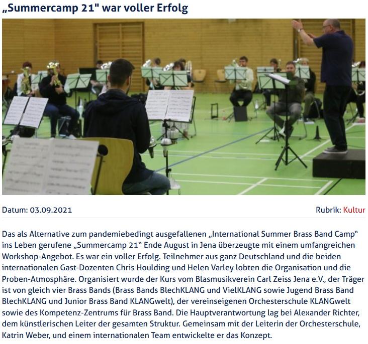 Artikel JenaTV Summercamp 21 Blasmusikverein Carl Zeiss Jena eV
